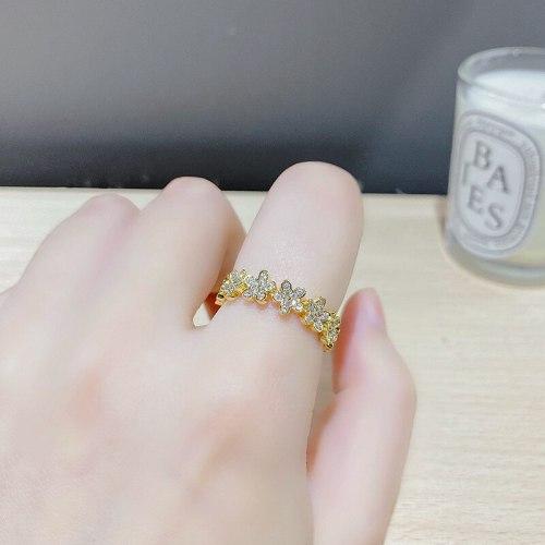 Korean Fashion New Ring Micro Inlaid Zircon Opening Adjustable Petal Ring Design Sense Index Finger Ring