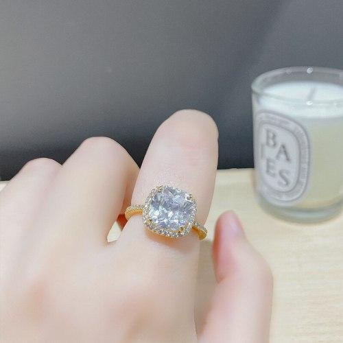 Korean Style Fashion Micro Inlaid Zircon Super Flash Ring Ins Design Square Diamond Cold Wind Open Ring Female