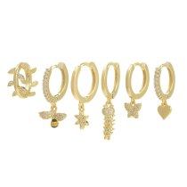 High Sense Korean Style Korean Earrings Suit Fashion Creative Micro Inlaid Zircon Bee Peach Heart Pendant Earclip Earrings