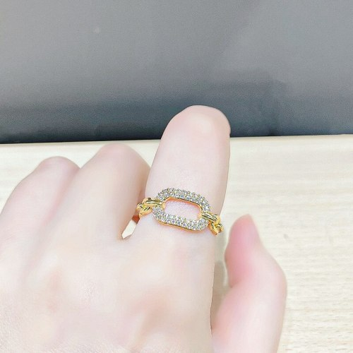 Temperament Micro-Inlaid Zircon Ring Women's Fashion Ins Open Ring Tide Fashion and Fully-Jewelled Index Finger Ring Ornament