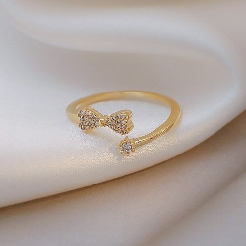 Tiny Bow Ring Female Ins Special-Interest Design Cold Style High-Grade Light Luxury New Ring Fashion