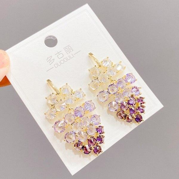 Zircon Accessories Women's Sterling Silver Needle Long Geometric Eardrops Dress Purple Grape Cluster Earrings