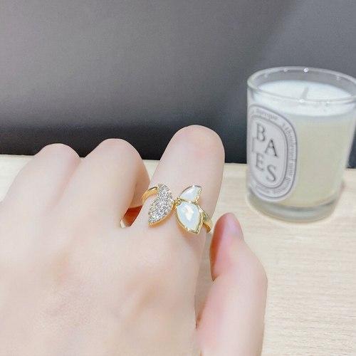 Light Luxury Ins Style Open Butterfly Ring Female High Sense Super Flash Zircon Fritillary Ring Niche Normcore Bag Bracelet