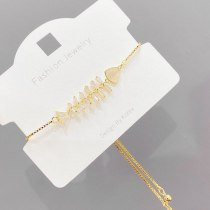 Micro Inlaid Zircon Personalized Creative Fishbone Fashion Bracelet Adjustable Internet Hot Korean Style Simple Bracelet Jewelry