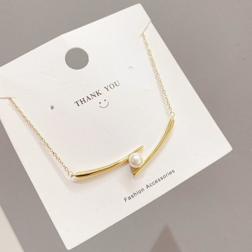 Fashionable Gold-Plated Pearl Chopsticks Necklace Simple and Light Luxury Special-Interest Pendant Necklace