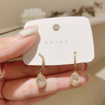 New Gold-Plated Micro Inlaid Zircon a Wire Fence Drop-Shaped Ear Clip Fashion Small Fresh Beautiful Circle Ear Clip