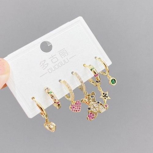 High-Grade Korean Earrings Suit Simple and Light Luxury Lvzuan Star Tassel Earrings Zircon Micro-Inlaid Bear Ear Clip Female