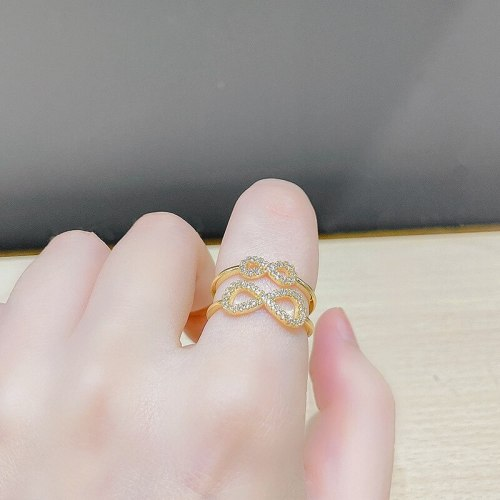 Sweet Ins Zircon Bow Ring Opening Adjustable Exquisite Ring Female Graceful Online Influencer Same Style Index Finger Ring