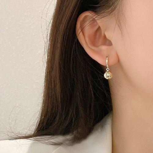Earrings for Women Summer Golden Ball Ball Eardrops New Trendy Metal Ear Cuff South Korea Simple Graceful Earring Ornament