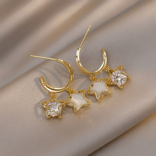 Star Ear Studs Women's Earrings Summer Internet Celebrity High Sense Special-Interest Design Sterling Silver Needle Earrings