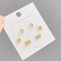 Sterling Silver Needle Korean Style One Card Three Pairs of Ear Studs Micro-Inlaid Zircon Petite Earrings Minimalist Earrings