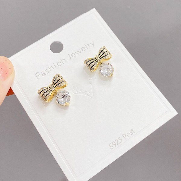 INS Trendy Super Flash Zircon Full Zircon Bow Earrings for Women Sterling Silver Needle Simple and Elegant Earrings