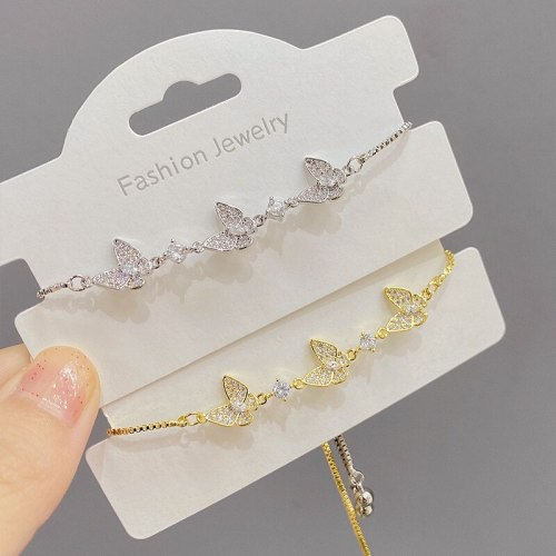 Zircon Butterfly Bracelet Female Online Influencer Korean Style Simple Ins Personality Pull Adjustable Bracelet