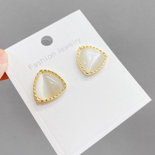 Opal Sterling Silver Needle Stud Earrings Simple and Versatile Silver Pin Earrings Design Sense Personalized Earrings