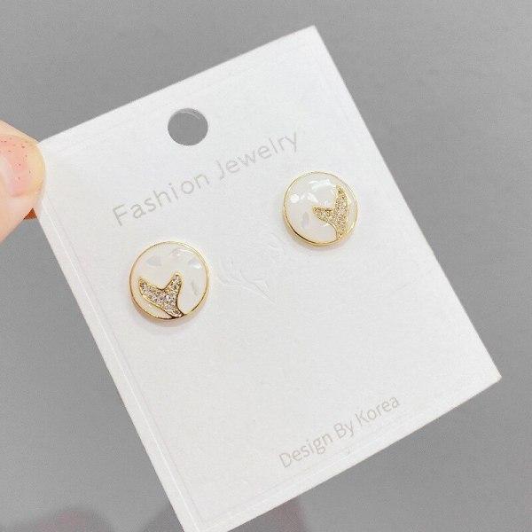 Korean Sterling Silver Needle Stud Earrings Fishtail Earrings for Women Niche Design Ornament