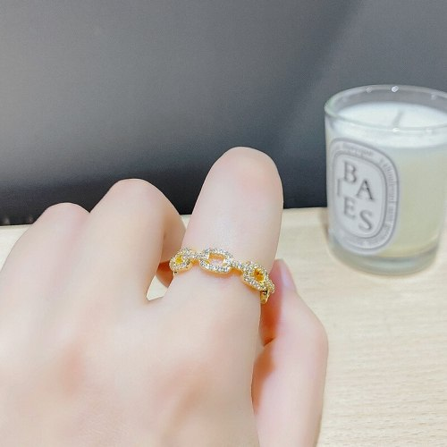 Real Gold Plating Simple Zircon Micro Setting Ring Fashion Graceful Online Influencer Ring Personality Chain Index Finger Ring