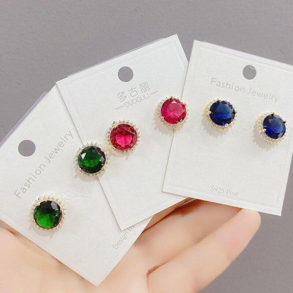 Sterling Silver Needle Zircon Stud Earrings for Women Hot Sale SUNFLOWER Eardrops European and American Trendy Earrings