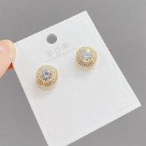 Sterling Silver Needle Korean Fashion Semicircle Stud Earrings Simple Versatile Zircon Earrings Petite Earrings