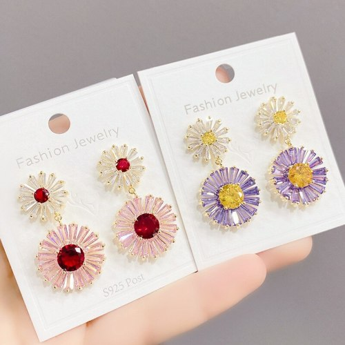 Exaggerating Earrings Women's Retro Blue Heavy Industry Gradually Varied Pink Zircon Rainbow Sterling Silver Needle Earrings