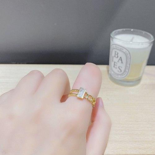 Super Flash Chain Full Rhinestone Zircon Ring Special-Interest Design Net Red Light Luxury Forefinger Ring Opening Ring
