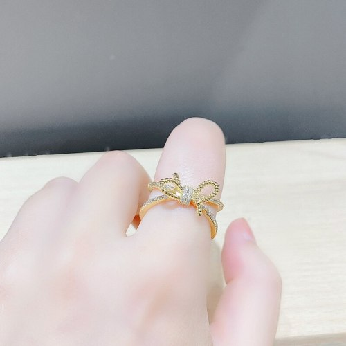 Japanese and Korean Bowknot Open Ring Fashion Trendy Ring Ins Simple Cold Style Ring Ornament