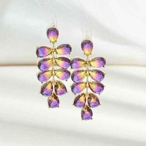 Heavy Industry Gradient Purple Zircon Grape Cluster Stud Earrings Sterling Silver Needle Special-Interest Graceful Earrings