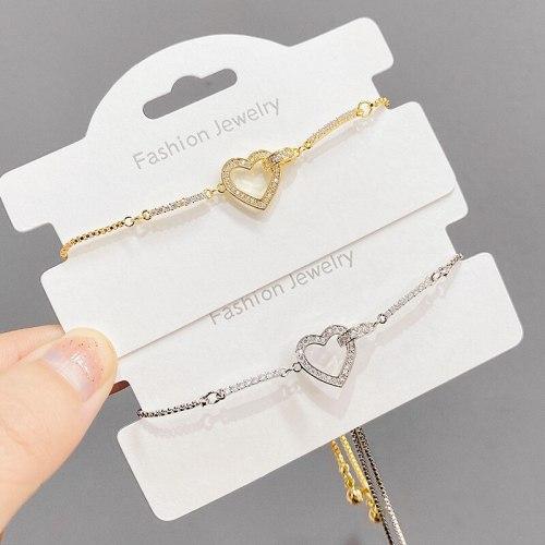 Micro-Inlaid Diamond Heart-Shaped Adjustable Pull Bracelet for Women Korean Style New Design All-Matching Graceful Bracelet