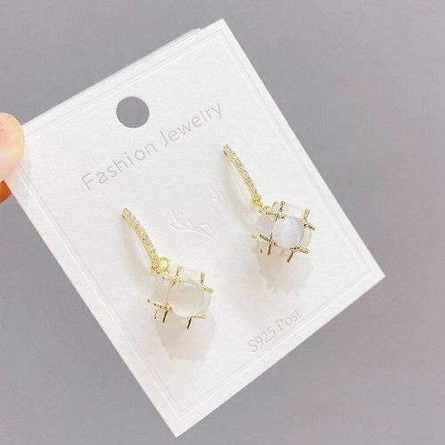 Opal Earrings Women's New Fashion High Sense Eardrop Earring S925 Silver Ear Studs Stud Earrings Summer Ornament
