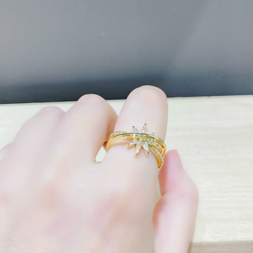 Zircon Eight Awn Star Ring for Women Light Luxury Minority Exquisite Design Fashion Personality Opening Index Finger Simple