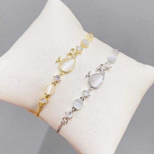 Korean Style Fashion Pull Bracelet Women's Adjustable Opal Whale Bracelet Niche Design Light Luxury Zircon Bracelet