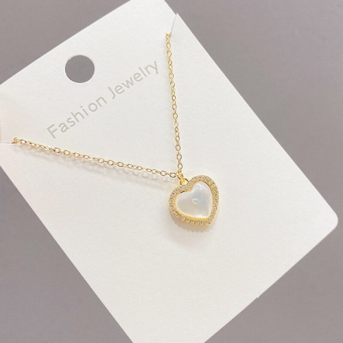 Shell Peach Heart Necklace French Girl Fritillary Niche Clavicle Chain Simple Graceful Internet Celebrity Necklace Jewelry