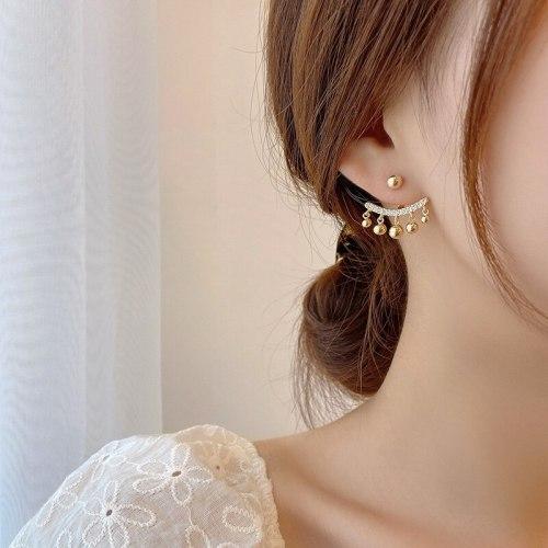 Sterling Silver Needle Stud Earrings Dual-Wear Detachable Micro Inlaid Zircon Semicircle Curved Moon Metal Ball Earrings
