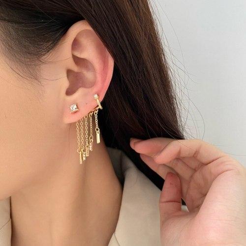 Sterling Silver Needle Micro Inlaid Zircon Tassel Earrings Elegant High Sense Earrings Ear Clip Online Influencer Earrings