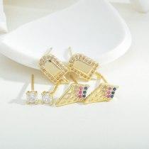 Sterling Silver Needle Stud Earrings Female One Card Three Pairs Earings Set Micro Inlaid Zircon Ice Cream Stud Earrings