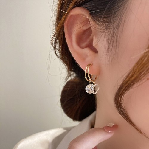 Double Circle Heart Girly Temperamental All-Match Earrings 925 Silver Needle Zircon Small Love Heart Stud Earrings Earrings