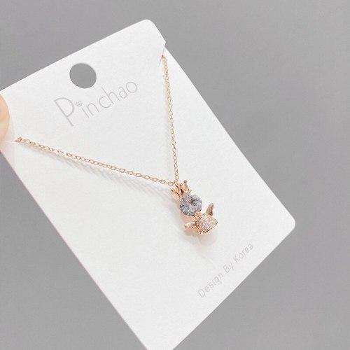 Light Luxury Crown Opal Angel Necklace Female Niche Micro Inlaid Titanium Steel Clavicle Chain Full Diamond