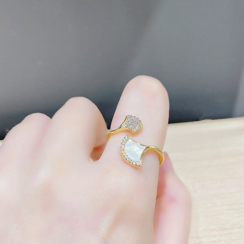 Open Adjustable Shell Ring Female Fashion Personality Ginkgo Leaf Simple Index Finger Ring Design Temperament Personality
