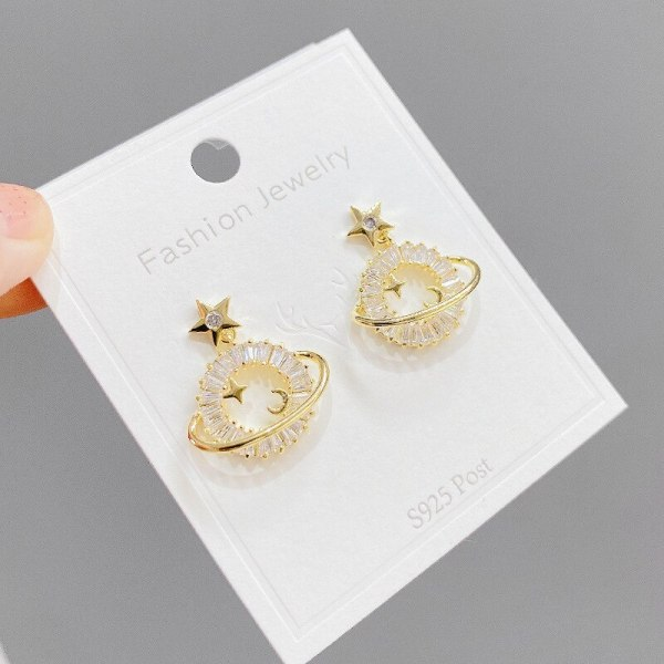 New Copper Plated Real Gold Micro Inlaid Zircon Planet Earrings Female Sterling Silver Needle Stud Earrings Ornament