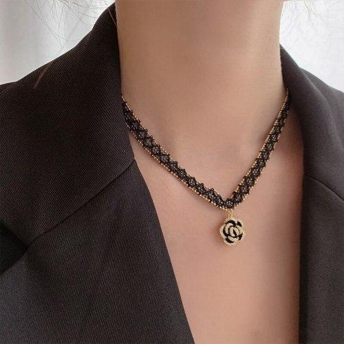 Black Woven Necklace Female Clavicle Chain Short Personalized Camellia Pendant Temperament Necklace Fashion Collar