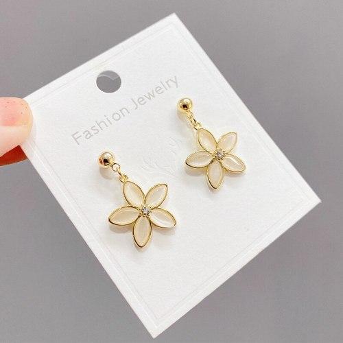 Opal Petal Stud Earrings Female Simple and Stylish Earrings Female Personality New Sterling Silver Needle Flower Earrings