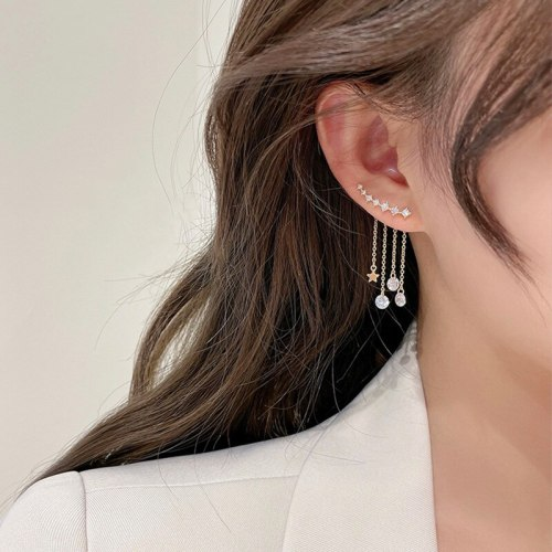 One Style for Dual-Wear Design Long Tassel Ear Clips New Elegant French High-Grade Light Luxury Earrings
