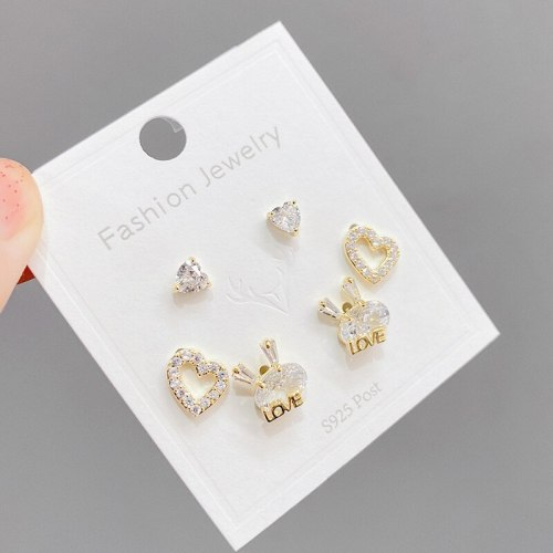 Sterling Silver Needle Micro-Inlaid Stone Female Ear Studs Niche Design All-Matching Graceful One Card Three Pairs Earrings