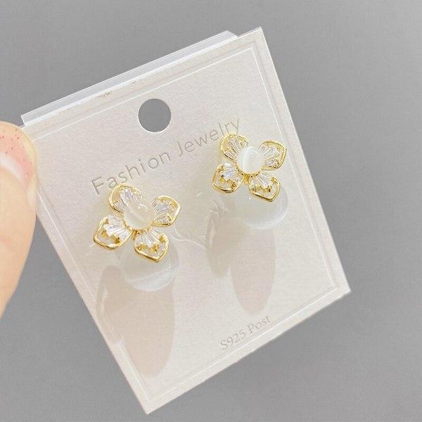 Sterling Silver Needle Korean Opal Petal Earrings Earrings New Hot Selling Temperament Earrings Women