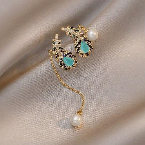 Korean Sterling Silver Needle Zircon Leaf Tassel Ins Style Stud Earrings Micro-Inlaid Colorful Zircon Earrings Earrings