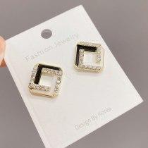 Shell Earrings Geometric Square Sterling Silver Needle Simple Graceful Fritillary Micro Zircon-Encrusted Stud Earrings Earrings