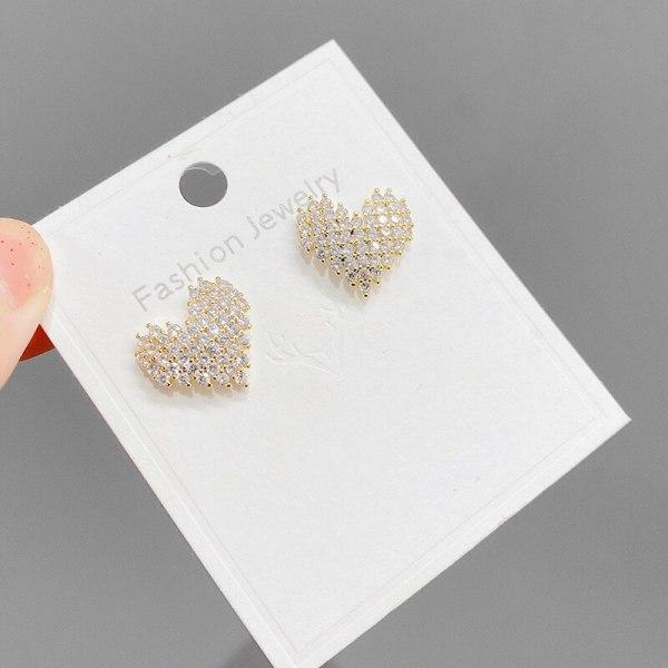Sterling Silver Needle Korean Style Personalized Copper Micro Inlaid Zircon Peach Heart Stud Earrings Female Earrings Ear Rings