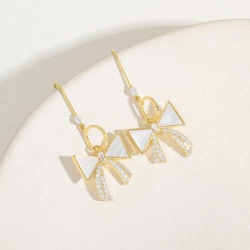 Sterling Silver Needle Shell Bow Micro Stud Earrings Female Japanese and Korean Partysu Temperamental Zircon Earrings Eardrops