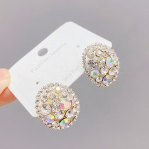 Sterling Silver Needle Geometric Oval Electroplated Real Gold Rhinestone Earrings French High Sense Earrings