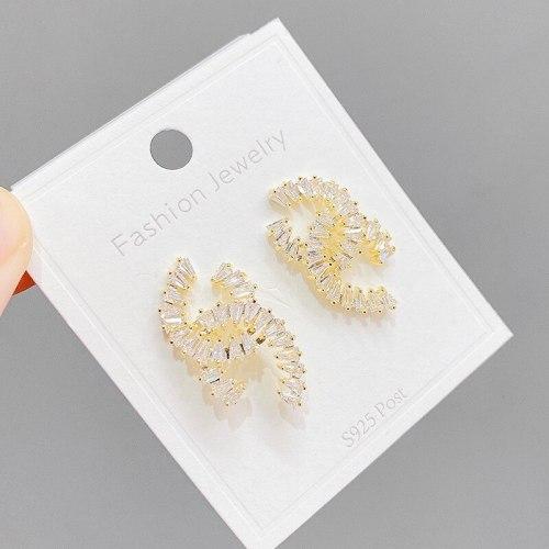 Sterling Silver Needle Pairs  Stud Earrings for Women Fine Zircon-Embedded Earrings Ornament