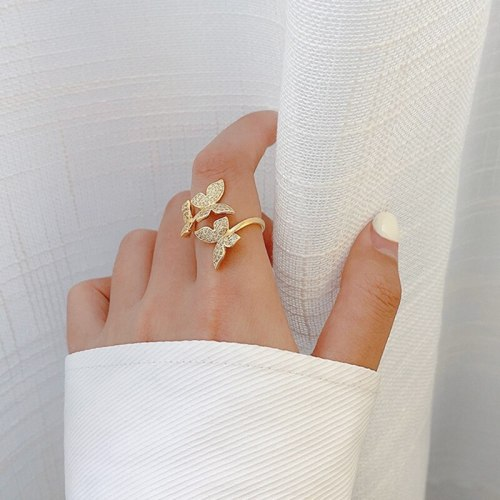 Ins Open Butterfly Ring Female Niche Diamond Temperament Ring Retro Element Internet Influencer Cold Style Tail Ring Jewelry